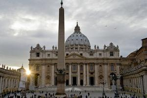 Obelisk in Front of the St. Peter's Basilica at Sunset, St. Peter's Square, Vatican City