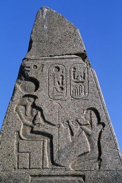 Obelisk with Reliefs and Inscriptions of Ramses II, Great Temple of Amun, Tanis, Egypt