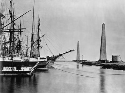 Obelisks and Ships at Suez Canal Entrance