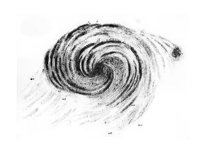Observation of a Spiral Galaxy in Canes Venatici Drawn by Lord Rosse, 1850