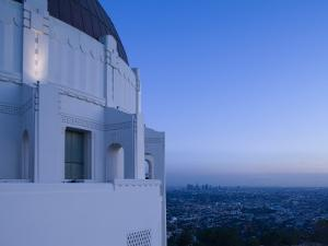 Observatory with Downtown at Dusk, Griffith Park Observatory, Los Angeles, California, USA