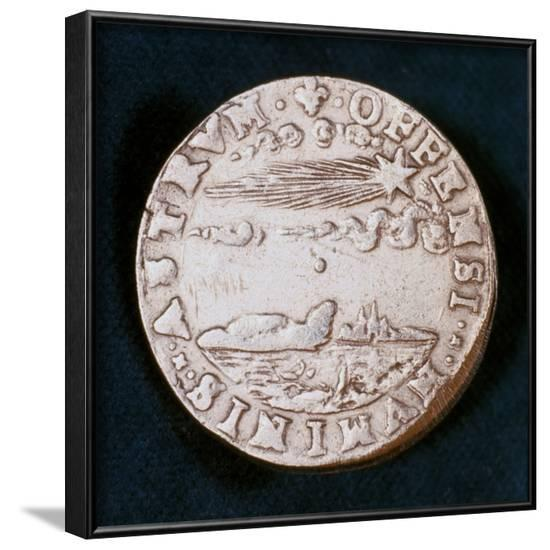 Obverse of a Medal Commemorating the Bright Comet of 1577--Framed Photographic Print