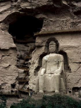 Great Buddha at Bingling Temple, Yellow River, Near Lanzhou, China by Occidor Ltd