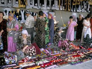 Selling Traditional Textiles for Weddings, Urgut, Uzbekistan, Central Asia by Occidor Ltd