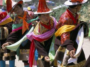 Tibetans Dressed for Religious Shaman's Ceremony, Tongren, Qinghai Province, China by Occidor Ltd