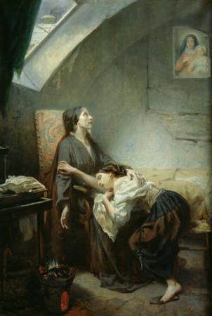 The Poverty-Stricken Family, or the Suicide, 1849 by Octave Tassaert