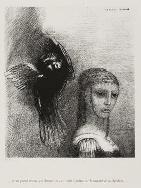 A Large Bird, Descending From the Sky, Hurls Itself Against the Topmost Point of Her Hair by Odilon Redon