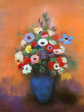 Anemones and Lilacs in a Blue Vase, after 1912 by Odilon Redon