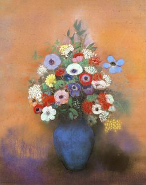 Anemones and lilacs in a blue vase. After 1912 by Odilon Redon