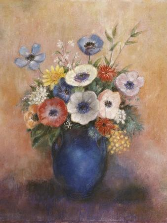 Bouquet of Flowers in a Blue Vase