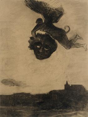 Démon ailé dans les airs, tenant un masque by Odilon Redon
