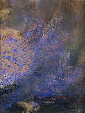 Fantaisie : éclatement orange et bleu, sur fond sombre by Odilon Redon