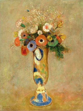 Flowers in a Painted Vase