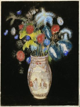 Large Bouquet on a Black Background, C.1910 by Odilon Redon