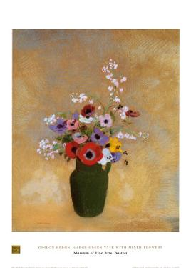 Large Green Vase with Mixed Flowers by Odilon Redon