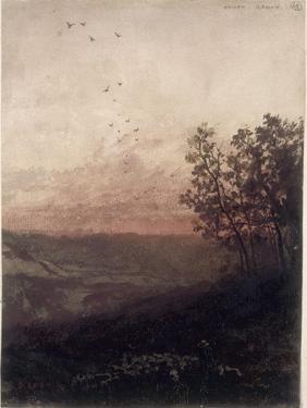 Paysage au soleil couchant, au premier plan, un berger et son troupeau by Odilon Redon