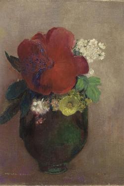 Vase de fleurs, pavot rouge by Odilon Redon