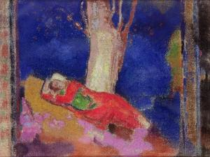 Woman Sleeping under a Tree, 1900-01 by Odilon Redon