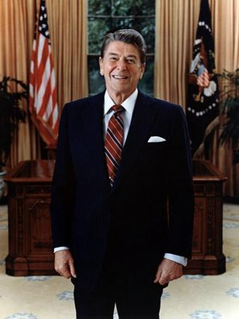 Official Portrait of President Reagan in the Oval Office. June 3 1985. Po-Usp-Reagan_Na-12-0061M