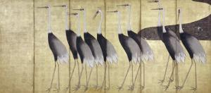 Cranes, Japanese Edo Screen Painting by Ogata Korin