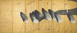 Six-Panel Screen Depicting Cranes, Edo Period by Ogata Korin