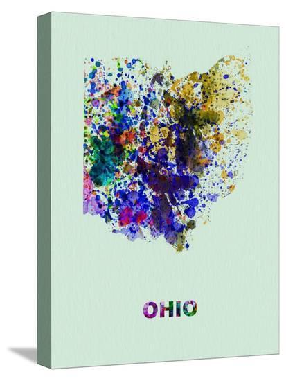 Ohio Color Splatter Map-NaxArt-Stretched Canvas Print