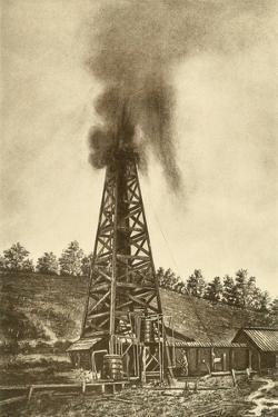Oil Well with a Gusher in the Oil Region of Pennsylvania, Ca. 1880