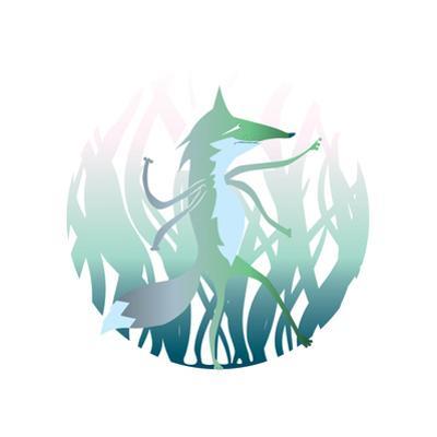 Illustrated Beast. Cartoon Werwolf. Magic Animal in the Forest by Oksana Pravdina