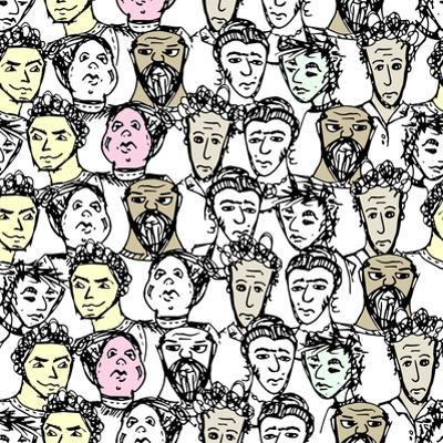 Seamless Pattern with Big Group of People by Oksana Pravdina