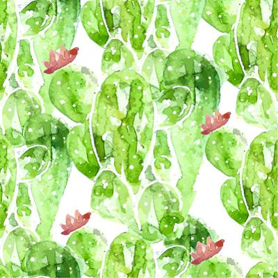 Seamless Watercolor Cactus Pattern, by Oksana Pravdina