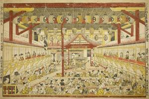 Large Perspective Picture of the Kaomise Performance on the Kabuki Stage, C.1745 by Okumura Masanobu