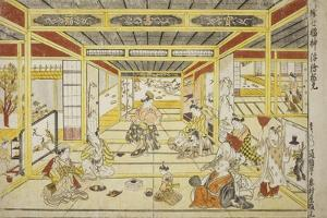 Original Perspective Picture of the Fashionable Seven Gods of Good Fortune , 1740s by Okumura Masanobu