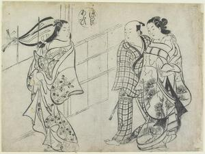 Two Women and a Man as Mitate of the Aoi's Story from the Tale of Genji, Early 18th Century by Okumura Masanobu
