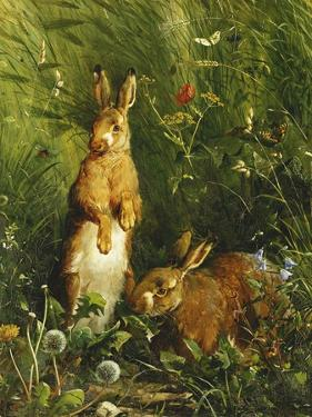 Hares by Olaf August Hermansen