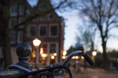 The Netherlands, Holland, Amsterdam, bicycle, handlebar, evening, light