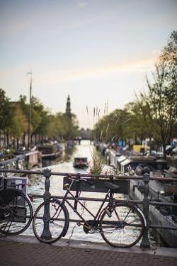 The Netherlands, Holland, Amsterdam, bicycle on railing by olbor