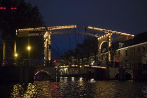 The Netherlands, Holland, Amsterdam, bridge, illuminated, night by olbor