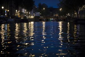 The Netherlands, Holland, Amsterdam, canal, night, lanterns, reflexions, by olbor
