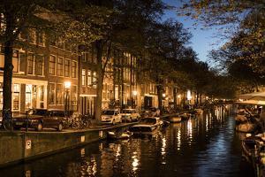 The Netherlands, Holland, Amsterdam, Egelantiersgracht, Gracht, night by olbor