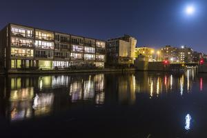 The Netherlands, Holland, Amsterdam, houses, new, night by olbor