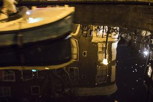 The Netherlands, Holland, Amsterdam, night, canal, boat by olbor