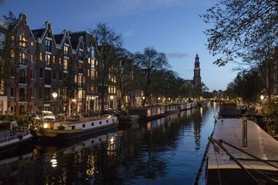 The Netherlands, Holland, Amsterdam, Prinsengracht, blue hour