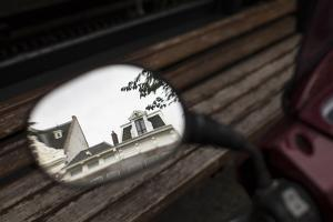 The Netherlands, Holland, Amsterdam, rear-view mirror, motorbike, reflexions, by olbor
