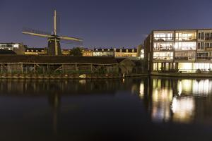The Netherlands, Holland, Amsterdam, windmill, night by olbor