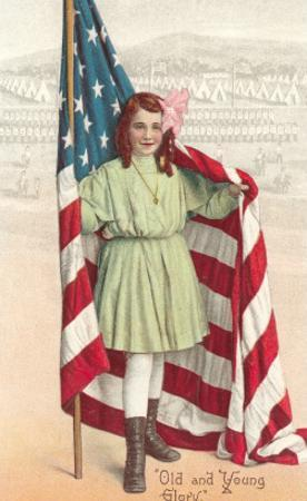 Old and Young Glory, Girl with Flag