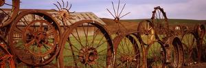 Old Barn with a Fence Made of Wheels, Palouse, Whitman County, Washington State, USA
