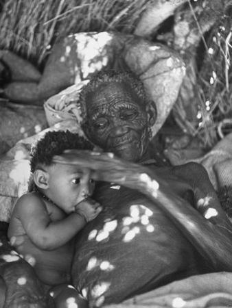 Old Bushman Woman Holding a Baby