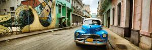 Old Car and a Mural on a Street, Havana, Cuba