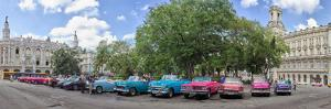Old cars parked at Parque Central, Havana, Cuba