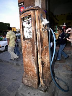 Old Fuel Pump Along a Street, San Francisco Street, San Miguel De Allende, Guanajuato, Mexico